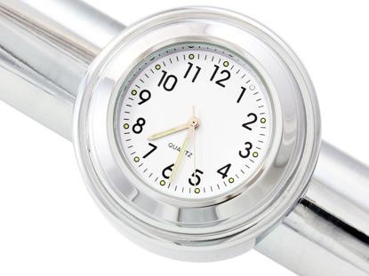 Obrázek Analogové hodiny na řidítka 22-25mm - bílé
