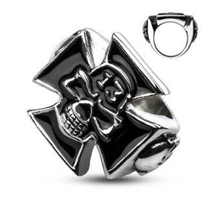 Obrázek Prsten kříž s lebkou pro motorkáře