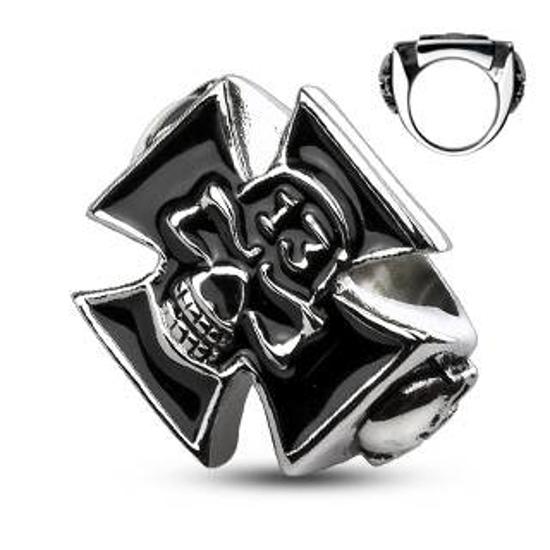 Obrázek z Prsten kříž s lebkou pro motorkáře