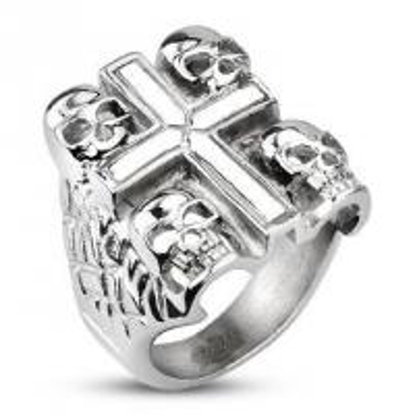 Obrázek Prsten z chirurgické oceli lebky s křížem