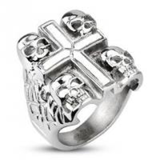 Obrázek z Prsten z chirurgické oceli lebky s křížem