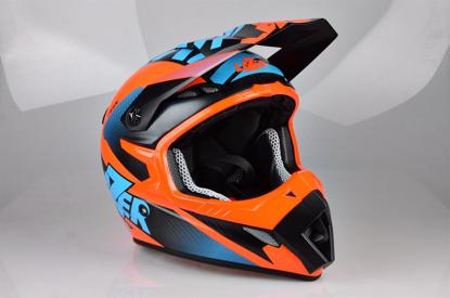 Obrázek LAZER MX8 X-Team Karbon, Barva: černý karbon - modrá - oranžová - matná